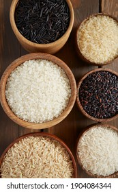 rice assortment in a box on wooden surface