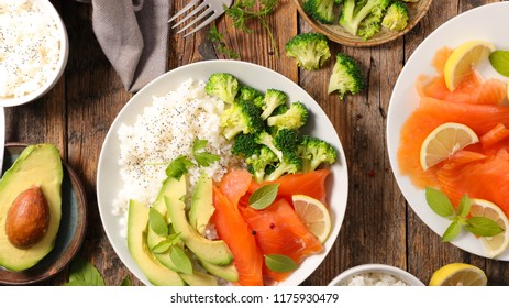 rice, avocado, broccoli and salmon