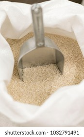 Rice in a bag. close-up