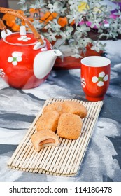 rice ball filled with peanut paste and bitten