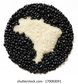 Rice and beans  Brazilian food. Map of Brazil.