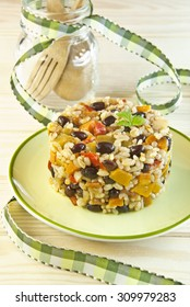 rice, beans legumes carrot peppers pumpkin orion and vegetables spices Mediterranean Mexican Latin food vegetarian and vegan drum round
