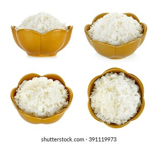 Rice in a bowl isolated on a white background.