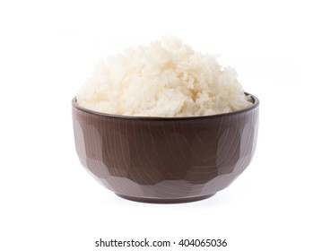 rice in bowl isolated on white background