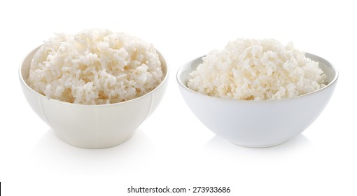 Rice in a bowl on white background