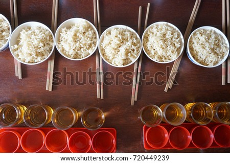 Rice Bowls Many Cups Tea Offering Stock Photo Edit Now 720449239