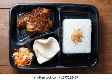 rice box       beef gongso tradisional food in central java indonesia