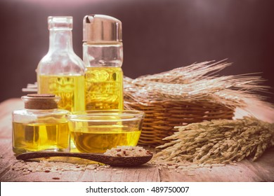 Rice bran oil in bottle glass with seed