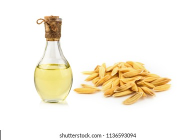 rice bran oil extracted from rice. It contained in a glass-bottle