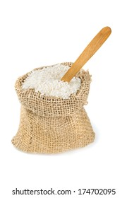 rice in a burlap bag isolated on white