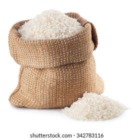 rice in burlap bag isolated on white background