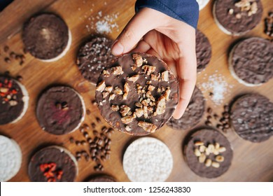 rice cakes covered in chocolate with toppings