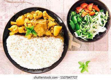 Rice with Cicken-Cauliflower Curry & Salad