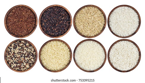 Rice collection isolated on white background. Top view
