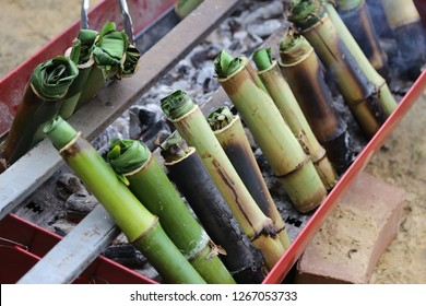 rice cooking in bamboo