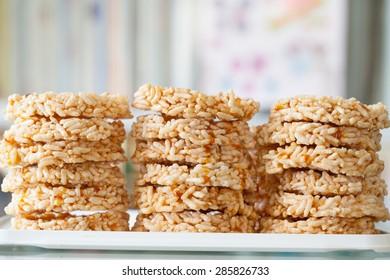 Rice Cracker (Khaotan) Snack native of northern Thailand.