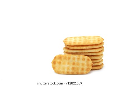 Rice cracker,Japanese fragrant baked rice snack isolated have space available on white background