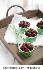 Rice crispies covered with milk chocolate