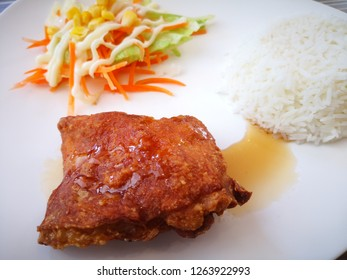 Rice with Crispy fried chicken and salad