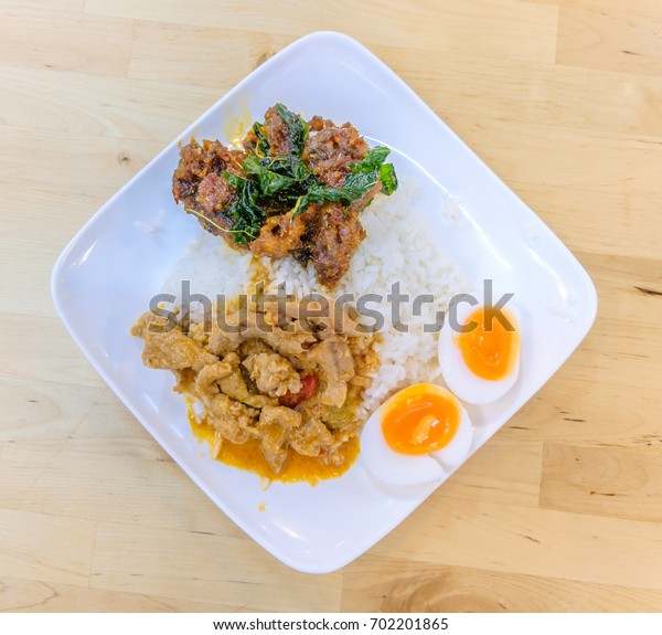 Rice and curry Thai food (Panaeng Curry with Pork )