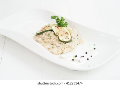 Rice dish with zucchini slices