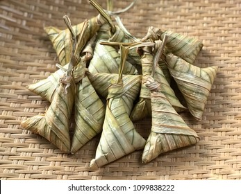 Rice dumplings or 'ketupat daun palas'. This traditional Malaysian and Indonesian food famously served during Eid Mubarak or Hari Raya Aidilfitri.