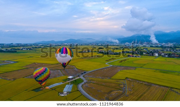 rice field with hot air balloon in Donshan Township