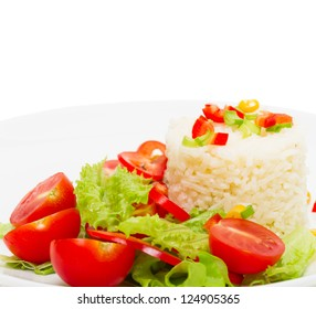 rice with fresh vegetable salad, close-up