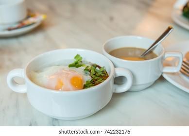 Rice gruel breakfast on table