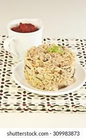 rice integral mixed soy vegetables vegetarian and vegan food, recipe vegetarian
