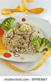 rice integral mushrooms broccoli, diet, vegetarian and vegan food, recipe