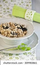 rice integral mushrooms, vegetarian and vegan food for diet