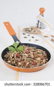 rice integral with seeds, vegetarian food, grain, pan, Marine algae, pipes, Pine nuts