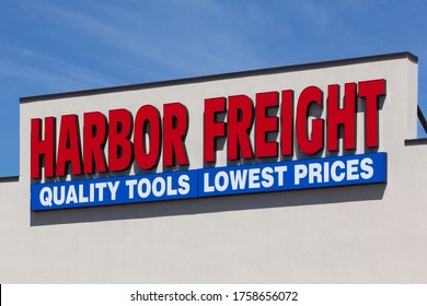 RICE LAKE, WI/USA - JUNE 14, 2020: Harbor Freight Tools retail store exterior sign and trademark logo.