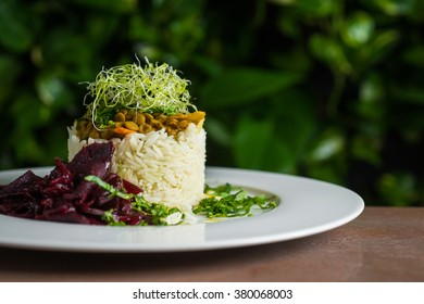 Rice with lentils and beet