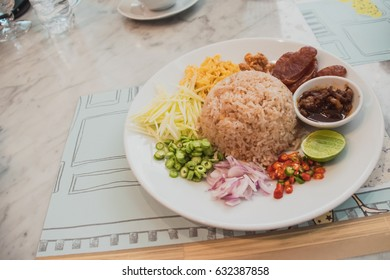 Rice Mixed with Shrimp Paste on the Table