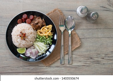 Rice Mixed with Shrimp paste , Thai traditional food