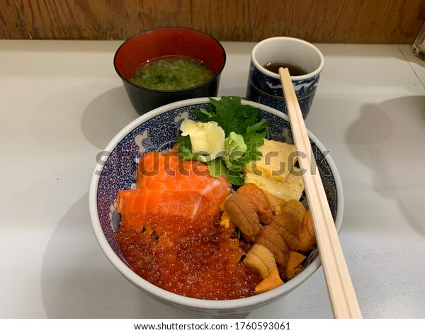 Rice with mixed sushi,salmon,sweet egg,uni and magro