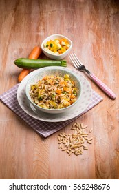 rice with mixed vegetables and pine nuts