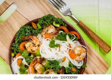 Rice Noodle Kale Salad with Shrimp. Selective focus.