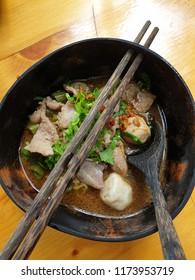 Rice noodle soup with pork