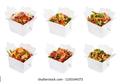 Rice and noodles in boxes isolated on white background. Collage