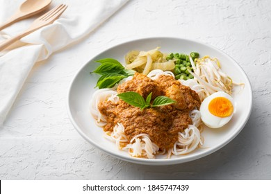 Rice noodles in fish curry sauce with meatball and vegetable (Kanom Jeen Nam Ya) - Shutterstock ID 1845747439