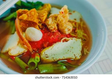 rice noodles in pink soup, thai cuisine (yen ta fo)