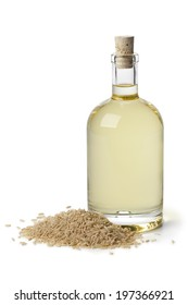 Rice oil in a bottle on white background