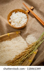 the rice on sackcloth