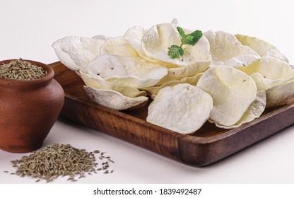 Rice Papad, Jeera, Cumin Seeds, Khichiya papad isolated on white background, Papadum, Pudina Leaves, Masala Papad, Chokha papad