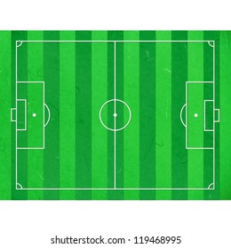 Rice paper cut football field on white background