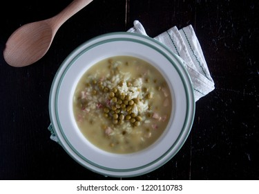 "Rice and peas, a classic Italian recipe called ""risi e bisi"",italy"