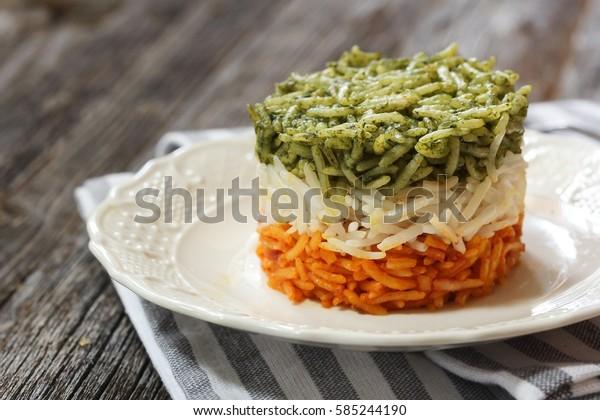 Rice Pilaf representing Italian flag colors